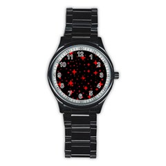 Bright Red Stars In Space Stainless Steel Round Watch