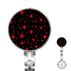 Bright Red Stars In Space Stainless Steel Nurses Watch
