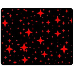 Bright Red Stars In Space Double Sided Fleece Blanket (medium)
