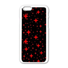 Bright Red Stars In Space Apple Iphone 6/6s White Enamel Case