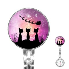 Cats Looking In The Sky At Santa Claus At Night Stainless Steel Nurses Watch by FantasyWorld7