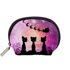 Cats Looking In The Sky At Santa Claus At Night Accessory Pouches (small)  by FantasyWorld7