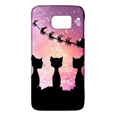 Cats Looking In The Sky At Santa Claus At Night Galaxy S6 by FantasyWorld7