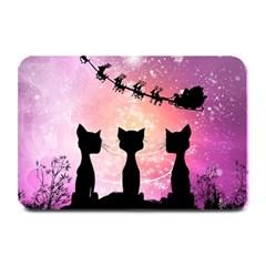 Cats Looking In The Sky At Santa Claus At Night Plate Mats by FantasyWorld7