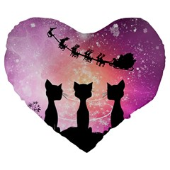 Cats Looking In The Sky At Santa Claus At Night Large 19  Premium Heart Shape Cushions by FantasyWorld7