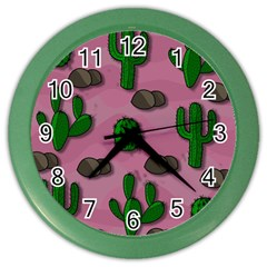 Cactuses 2 Color Wall Clocks by Valentinaart