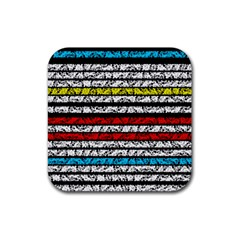 Simple Colorful Design Rubber Square Coaster (4 Pack)  by Valentinaart