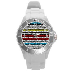 Simple Colorful Design Round Plastic Sport Watch (l) by Valentinaart