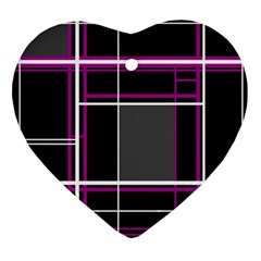 Simple Magenta Lines Ornament (heart)  by Valentinaart