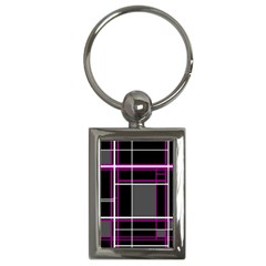 Simple Magenta Lines Key Chains (rectangle)  by Valentinaart