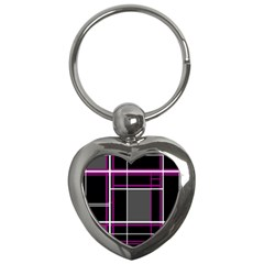 Simple Magenta Lines Key Chains (heart)  by Valentinaart