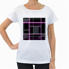 Simple Magenta Lines Women s Loose Fit T Shirt (white) by Valentinaart