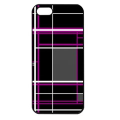 Simple Magenta Lines Apple Iphone 5 Seamless Case (black) by Valentinaart