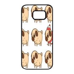 Cute Dog Samsung Galaxy S7 Edge Black Seamless Case by AnjaniArt