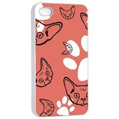 Face Cat Pink Cute Apple Iphone 4/4s Seamless Case (white) by AnjaniArt