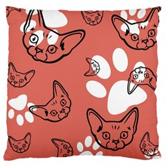 Face Cat Pink Cute Large Cushion Case (Two Sides) by AnjaniArt