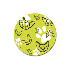 Face Cat Green Magnet 3  (round) by AnjaniArt