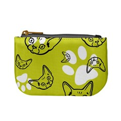 Face Cat Green Mini Coin Purses by AnjaniArt
