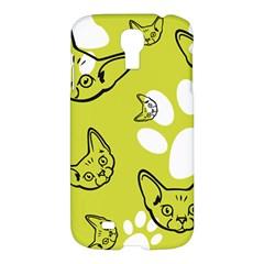 Face Cat Green Samsung Galaxy S4 I9500/i9505 Hardshell Case by AnjaniArt