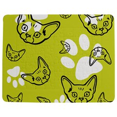 Face Cat Green Jigsaw Puzzle Photo Stand (Rectangular) by AnjaniArt