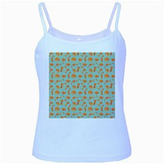 Cute Cat Animals Orange Baby Blue Spaghetti Tank by AnjaniArt