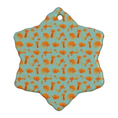 Cute Cat Animals Orange Ornament (snowflake)  by AnjaniArt