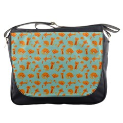 Cute Cat Animals Orange Messenger Bags by AnjaniArt