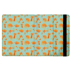 Cute Cat Animals Orange Apple Ipad 2 Flip Case by AnjaniArt