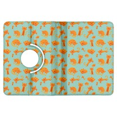 Cute Cat Animals Orange Kindle Fire Hdx Flip 360 Case by AnjaniArt