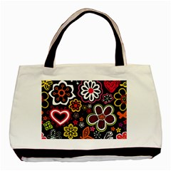 Flower Butterfly Basic Tote Bag (two Sides) by AnjaniArt