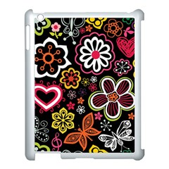 Flower Butterfly Apple Ipad 3/4 Case (white) by AnjaniArt