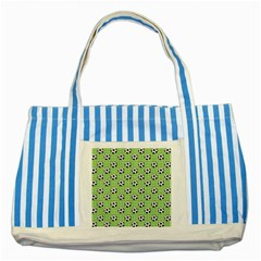 Green Ball Striped Blue Tote Bag by AnjaniArt