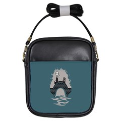 Man And Black Cat Girls Sling Bags by AnjaniArt