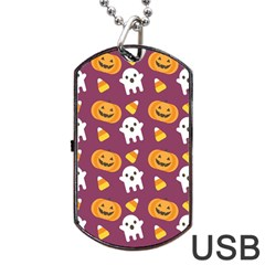 Pumpkin Ghost Canddy Helloween Dog Tag USB Flash (One Side) by AnjaniArt