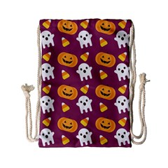 Pumpkin Ghost Canddy Helloween Drawstring Bag (small) by AnjaniArt