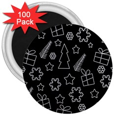 Simple Xmas Pattern 3  Magnets (100 Pack) by Valentinaart