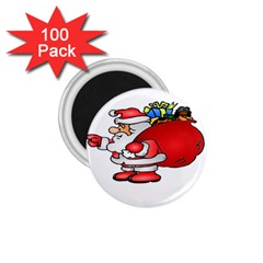 Santa Claus Xmas Christmas 1 75  Magnets (100 Pack)  by AnjaniArt