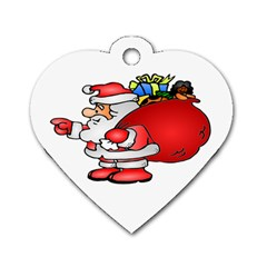 Santa Claus Xmas Christmas Dog Tag Heart (two Sides) by AnjaniArt