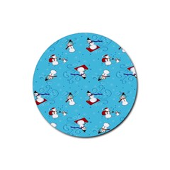Snowman Rubber Coaster (round)  by AnjaniArt