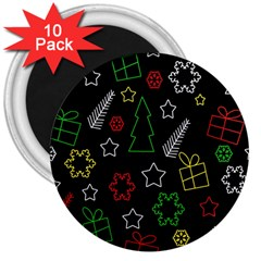Colorful Xmas Pattern 3  Magnets (10 Pack)  by Valentinaart
