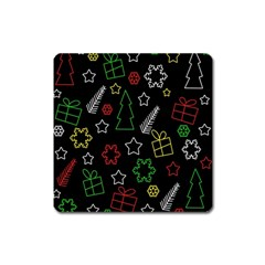 Colorful Xmas Pattern Square Magnet by Valentinaart