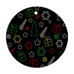 Colorful Xmas Pattern Round Ornament (two Sides)  by Valentinaart