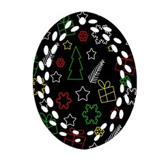 Colorful Xmas Pattern Oval Filigree Ornament (2 Side)  by Valentinaart