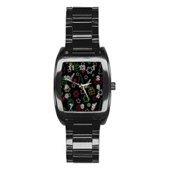 Colorful Xmas Pattern Stainless Steel Barrel Watch by Valentinaart