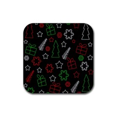 Green And  Red Xmas Pattern Rubber Square Coaster (4 Pack)  by Valentinaart