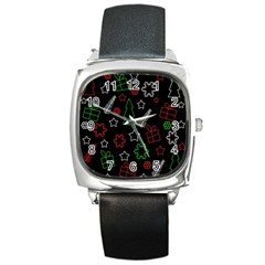 Green And  Red Xmas Pattern Square Metal Watch by Valentinaart