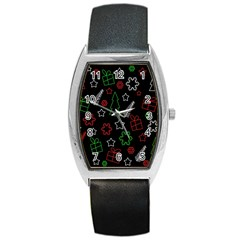 Green And  Red Xmas Pattern Barrel Style Metal Watch by Valentinaart