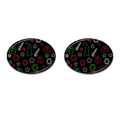 Green And  Red Xmas Pattern Cufflinks (oval) by Valentinaart