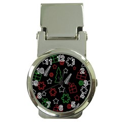 Green And  Red Xmas Pattern Money Clip Watches by Valentinaart