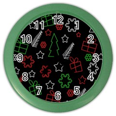 Green And  Red Xmas Pattern Color Wall Clocks by Valentinaart